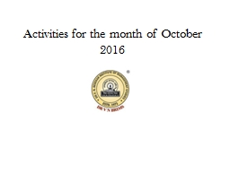 Activities for the month of October 2016