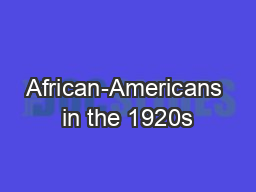 African-Americans in the 1920s