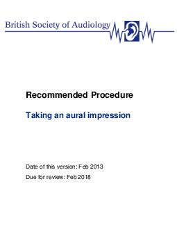 Recommended P rocedure aking an aural impression Date