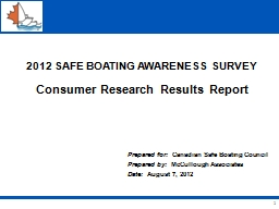 1 2012 SAFE BOATING AWARENESS SURVEY