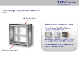 Duct casings for particulate filters DCA
