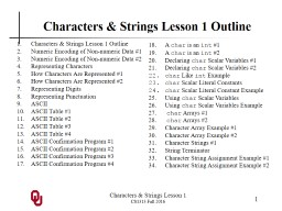 Characters & Strings Lesson 1
