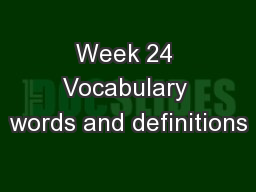 Week 24 Vocabulary words and definitions
