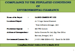 COMPLIANCE TO THE STIPULATED