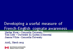 Developing a useful measure of French-English cognate aware