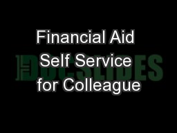 Financial Aid Self Service for Colleague