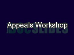 Appeals Workshop