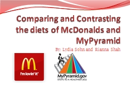 Comparing and Contrasting the diets of McDonalds and
