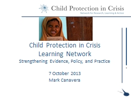 Child Protection in Crisis PowerPoint PPT Presentation