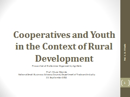 Cooperatives and Youth in the Context of Rural Development