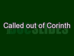 Called out of Corinth