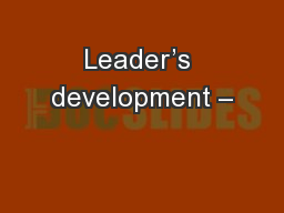 Leader's development –