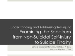 Understanding and Addressing Self-Injury: