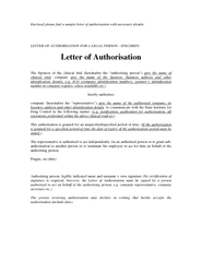 Enclosed please find a sample letter of authorisati on