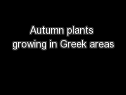 Autumn plants growing in Greek areas