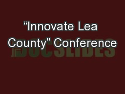 """Innovate Lea County"" Conference PowerPoint PPT Presentation"
