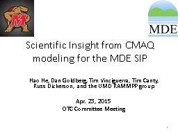 Scientific Insight from CMAQ modeling for the MDE SIP
