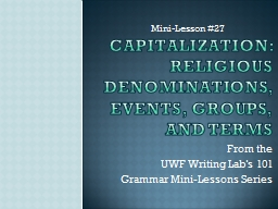 Capitalization: Religious Denominations, Events, Groups, an