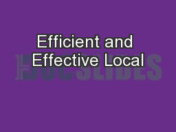 Efficient and Effective Local