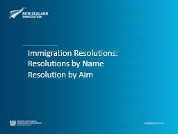 Immigration Resolutions: