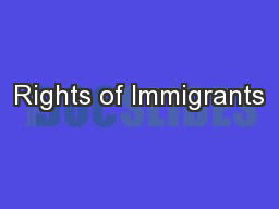 Rights of Immigrants