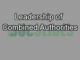 Leadership of Combined Authorities