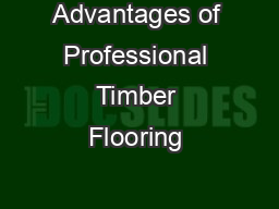 Advantages of Professional Timber Flooring