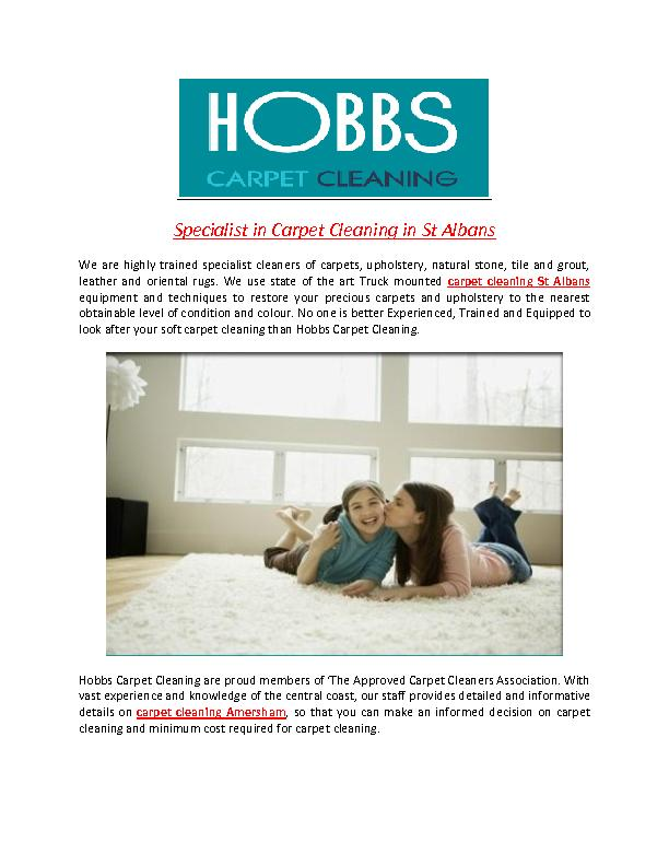 Specialist in Carpet Cleaning in St Albans