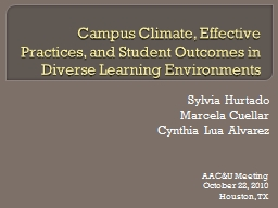 Campus Climate, Effective Practices, and Student Outcomes i PowerPoint PPT Presentation