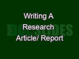 Writing A Research Article/ Report