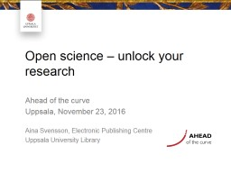 Open access – how and why? PowerPoint PPT Presentation