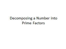 Decomposing a Number into Prime Factors