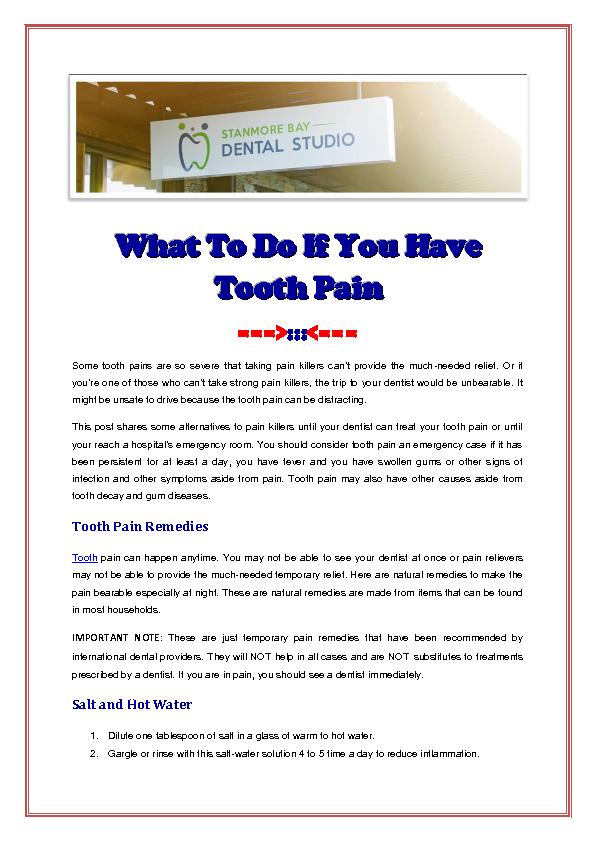 What To Do If You Have Tooth Pain