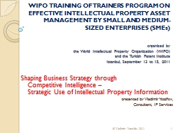 WIPO TRAINING OF TRAINERS PROGRAM ON EFFECTIVE INTELLECTUAL