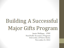 Building A Successful Major Gifts Program