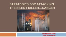 Strategies for Attacking the Silent Killer…Cancer