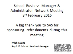 School Business Manager & Administrator Network Meeting