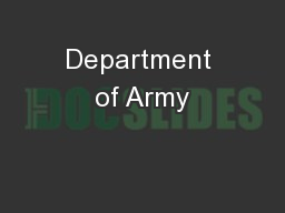 Department of Army PowerPoint PPT Presentation