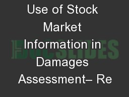 Use of Stock Market Information in Damages Assessment– Re