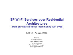SP Wi-Fi Services over Residential Architectures