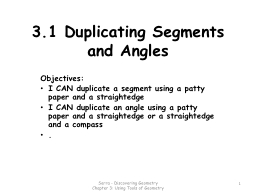 3.1 Duplicating Segments and Angles PowerPoint PPT Presentation