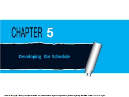 Developing the Schedule PowerPoint PPT Presentation