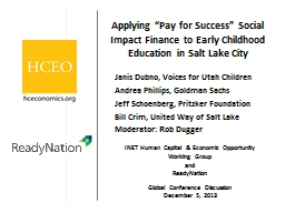 """Applying """"Pay for Success"""" Social Impact Finance to Ear"""