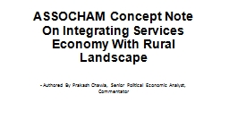 ASSOCHAM Concept Note On Integrating Services Economy With