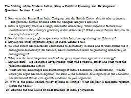 The Making of the Modern Indian State – Political Economy