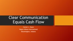 Clear Communication Equals Cash Flow
