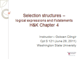 Selection structures – PowerPoint PPT Presentation