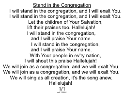 Stand in the Congregation PowerPoint PPT Presentation