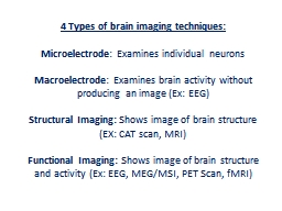 4 Types of brain imaging techniques: