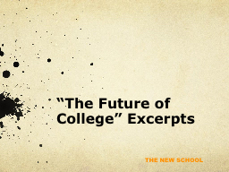 """""""The Future of College"""" Excerpts"""